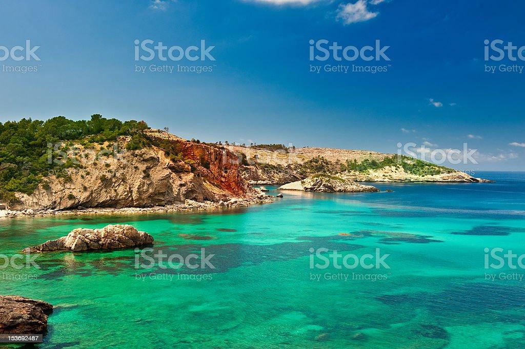 Cala Xarraca,  Ibiza Spain stock photo