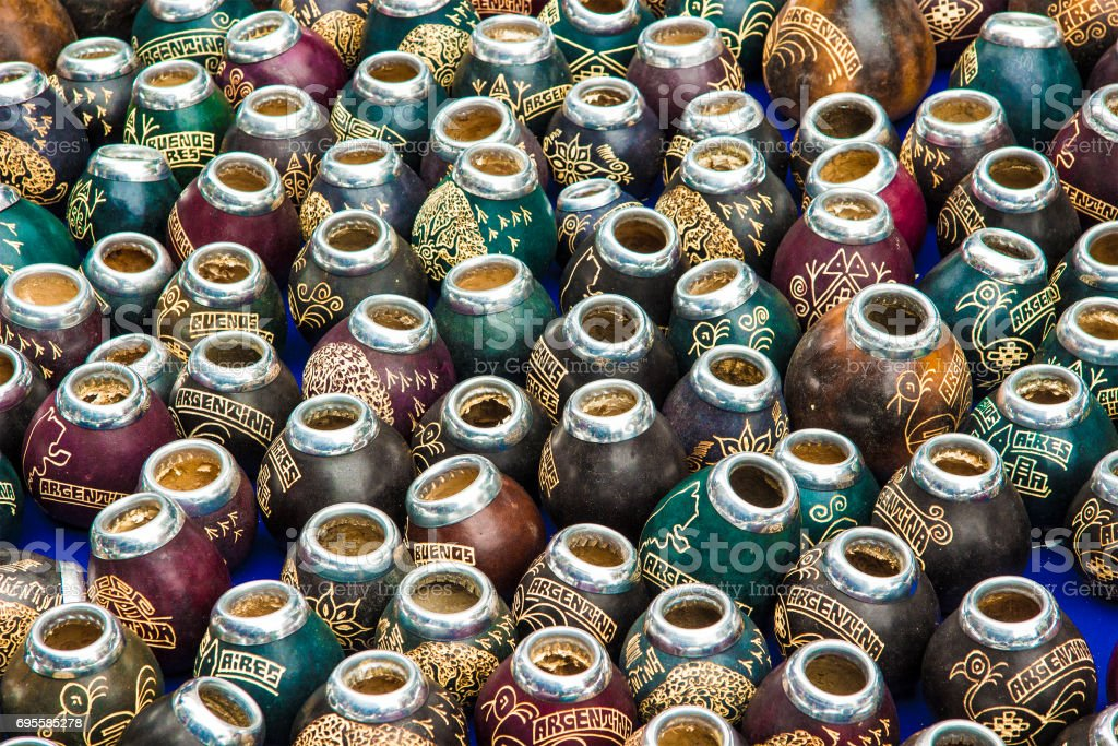 Calabashes (mate cups). Buenos Aires, Argentina stock photo