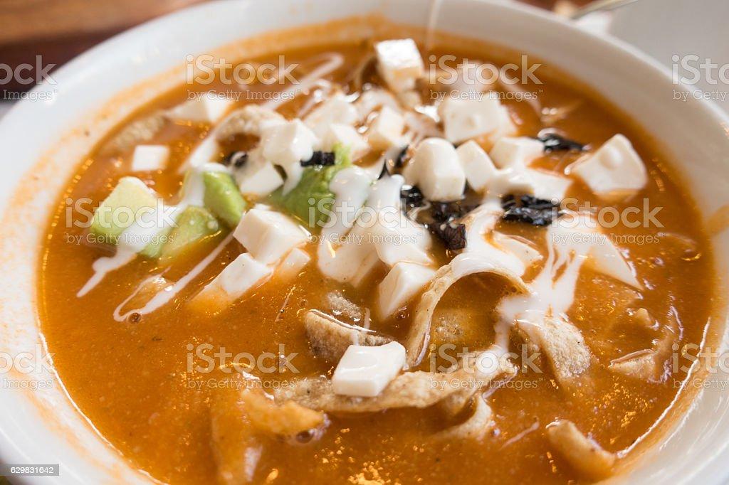 Calamari and Cotija Cheese Soup stock photo