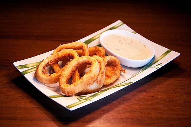 Calamari Fritti and  sauce stock photo