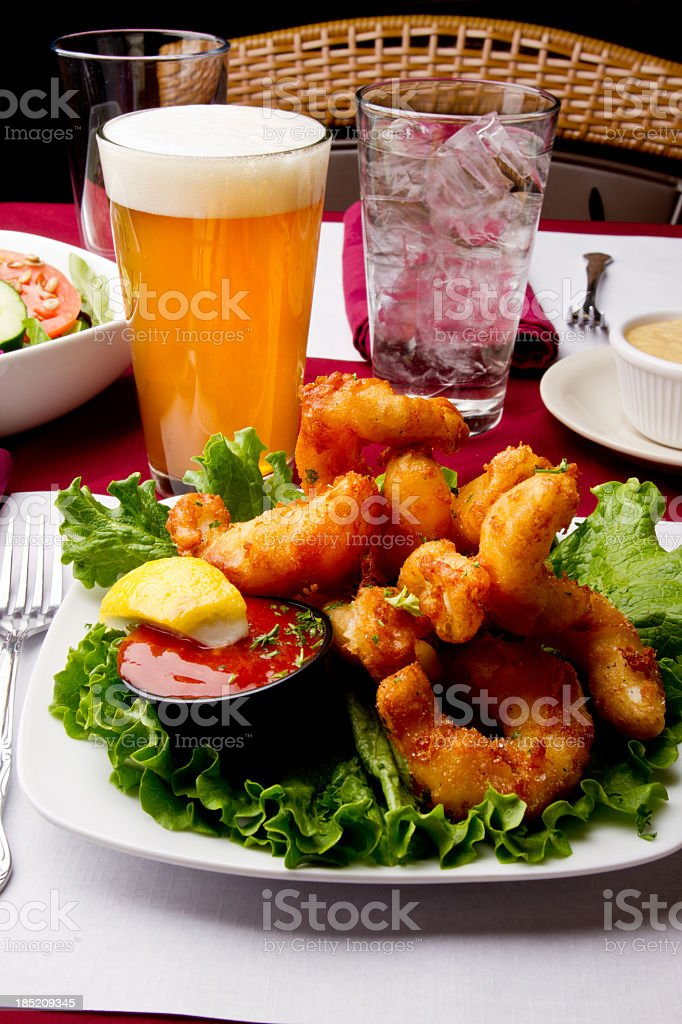 Calamari Fritti Appetizer with Beer stock photo