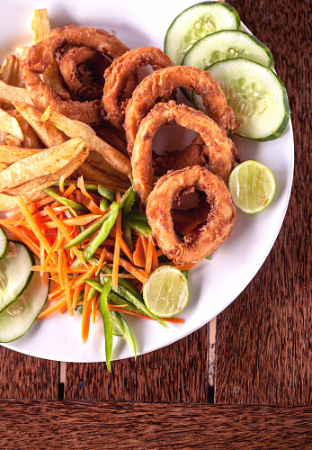 Calamari Rings With Fries Stock Photo - Download Image Now