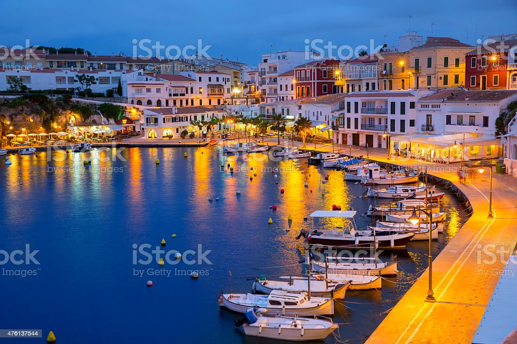 Calasfonts Cales Fonts Port sunset in Mahon at Balearics stock photo