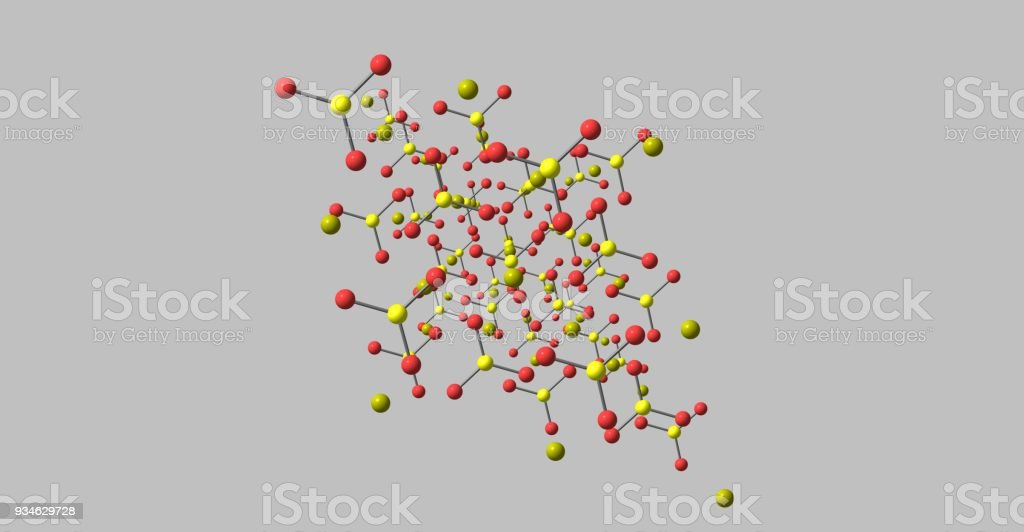 Calcite molecular structures isolated on grey background stock photo