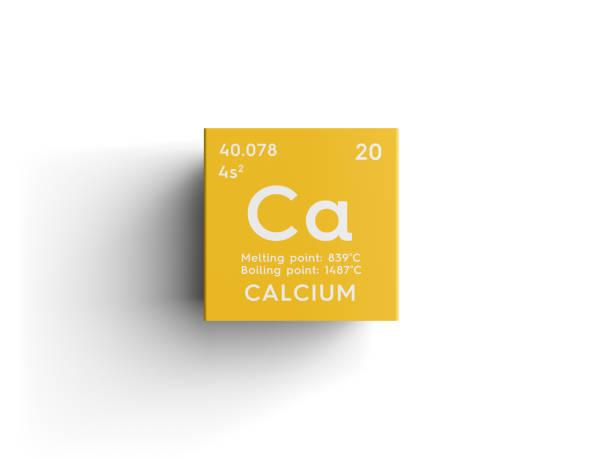 칼슘입니다. 알칼리 성 지구 금속입니다. 멘델레예프의 주기율표의 화학 요소입니다. 스톡 사진