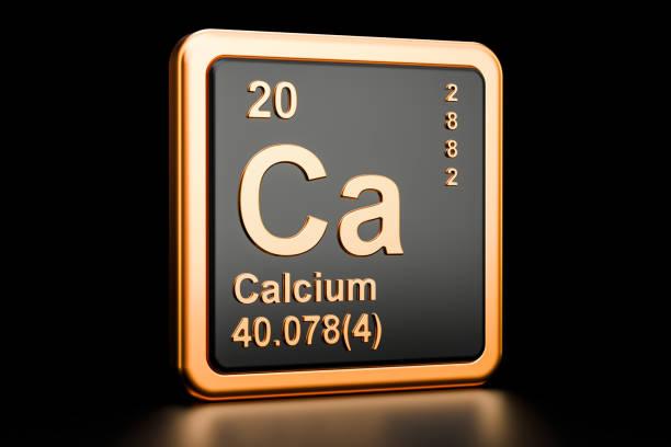 calcium ca, scheikundig element. 3d-rendering geïsoleerd op zwarte achtergrond - calcium stockfoto's en -beelden