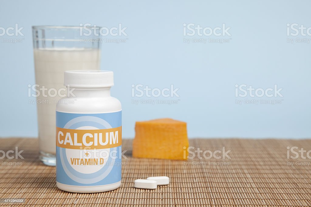 Calcium Tablets, Cheese & Milk royalty-free stock photo