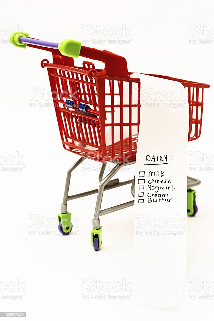 Calcium-rich Dairy shopping list in miniature trolley royalty-free stock photo
