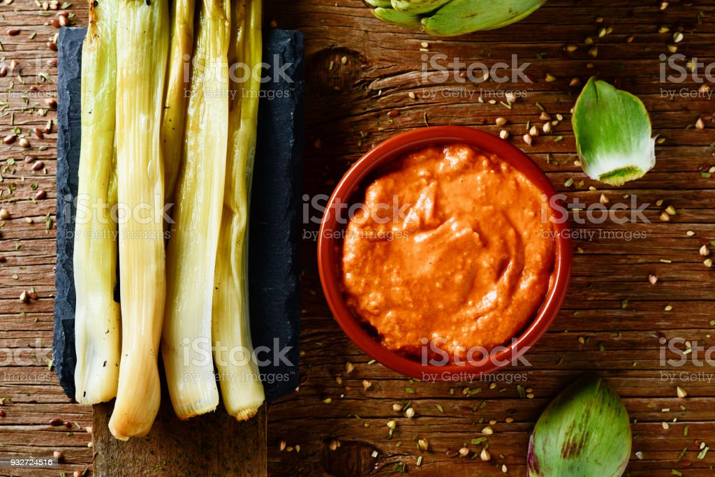 calcots, sweet onions typical of Catalonia, Spain stock photo