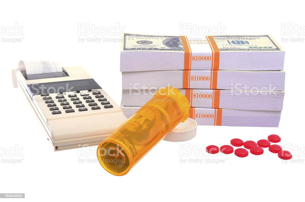 calculating cost of medication stock photo