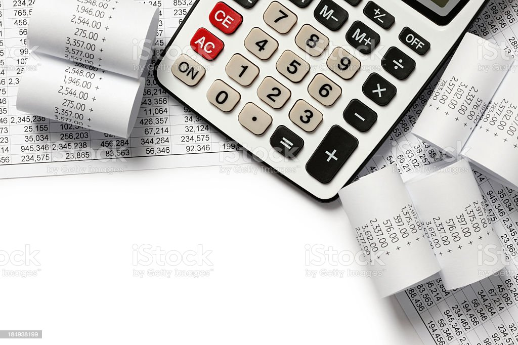 Calculating finances of receipts stock photo