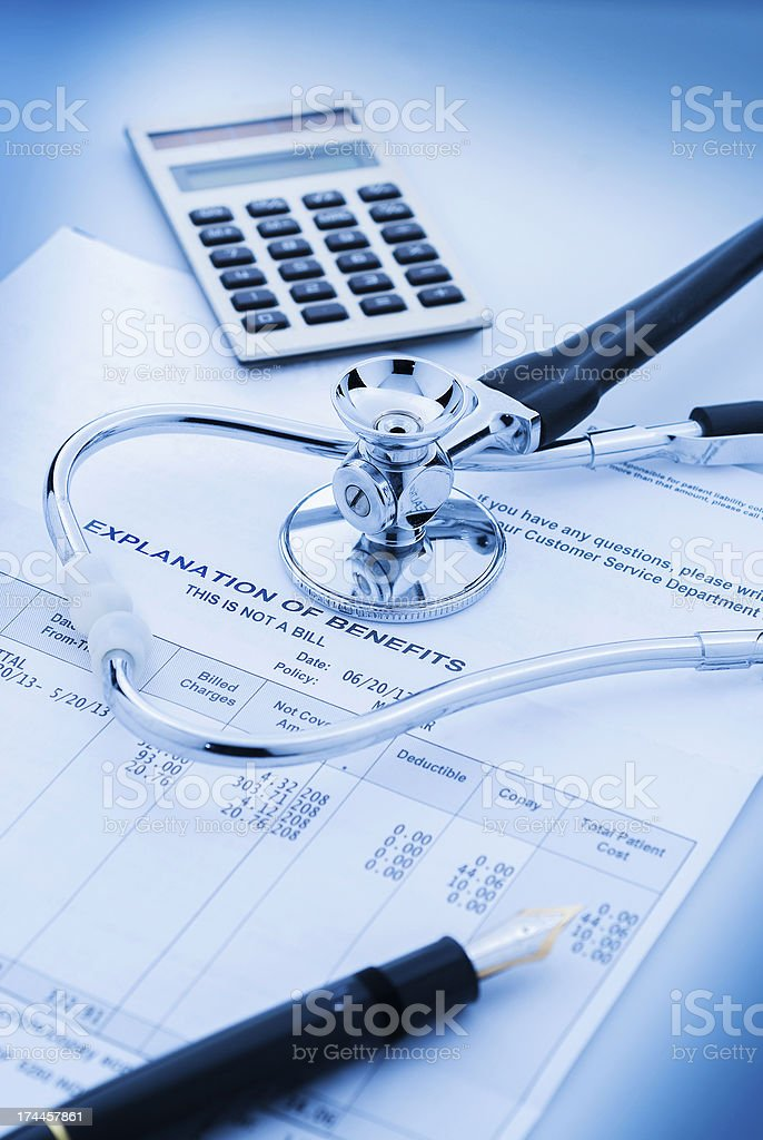 Calculating health care costs stock photo