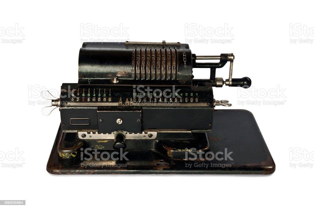 calculating machine isolated on white background stock photo
