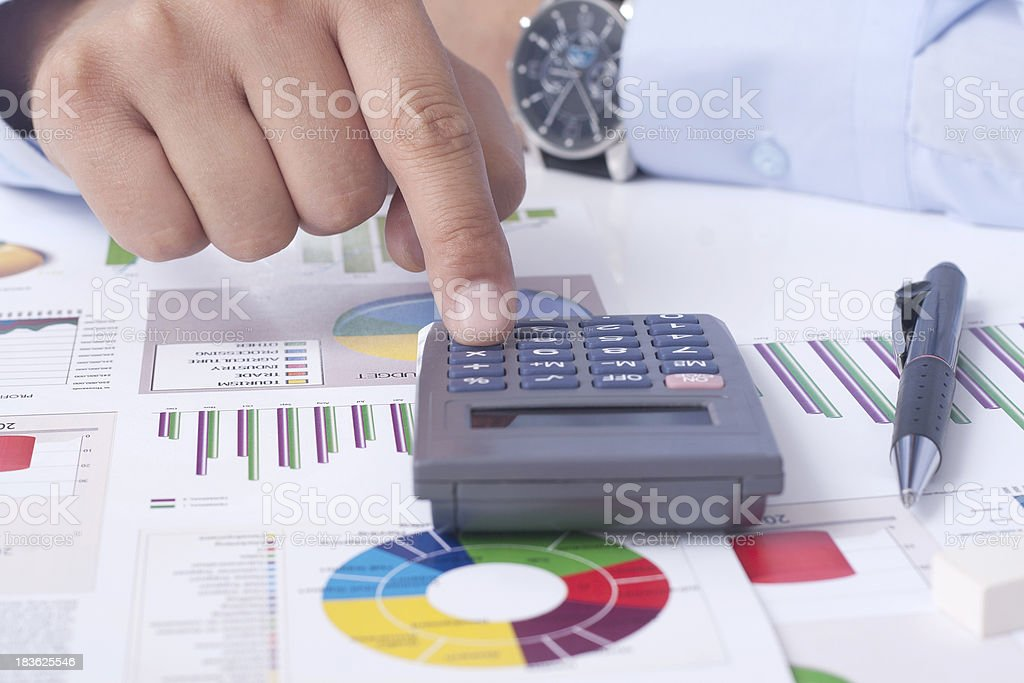 calculating the financial situation royalty-free stock photo