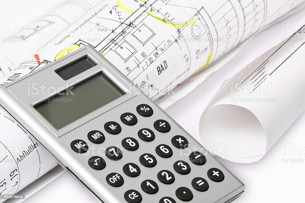 Calculation, architect plans stock photo