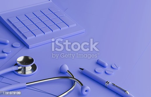 istock Calculation of health insurance, expenses for good health. Pastel Background 1191979199