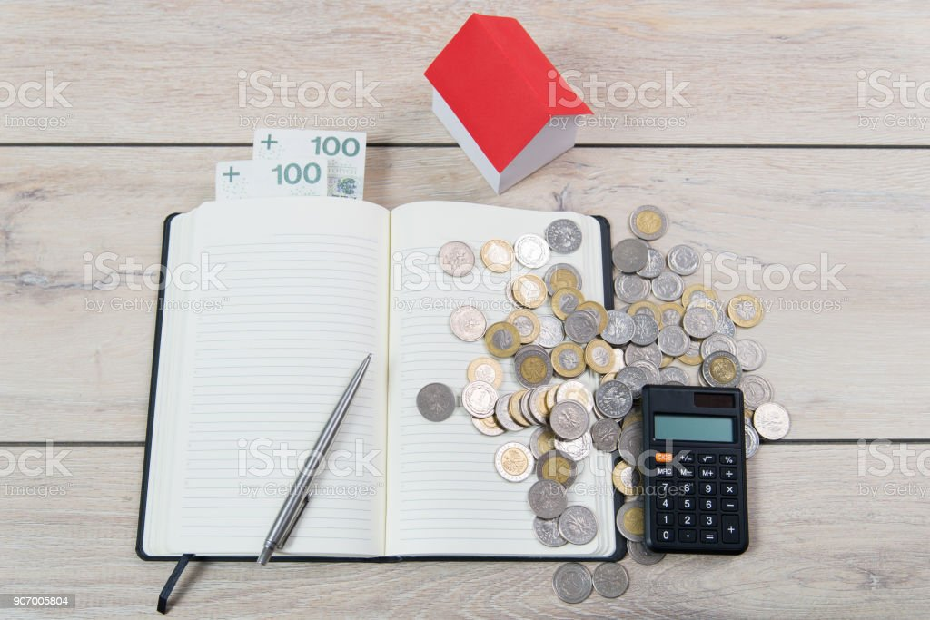 Calculation of own contribution to the loan for a  new flat. stock photo