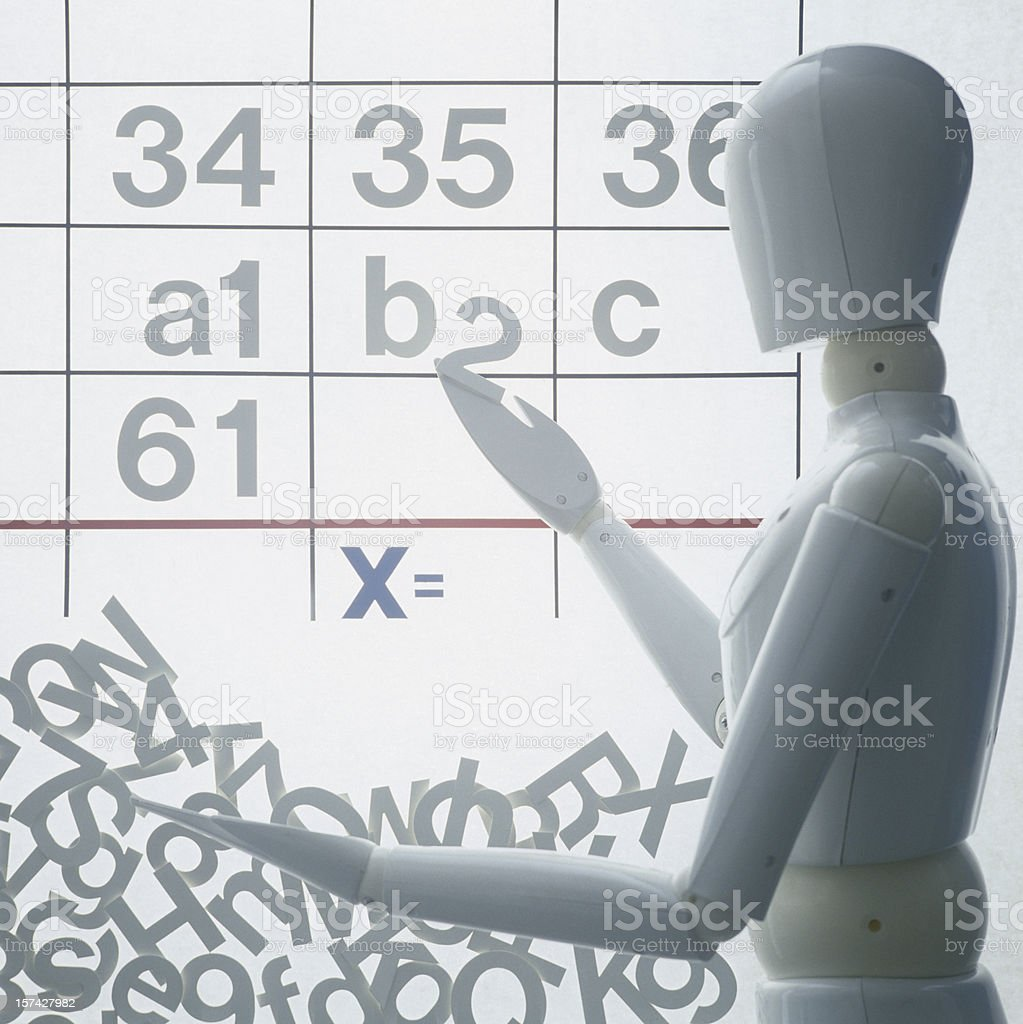 Calculation symbols with dummy puppet royalty-free stock photo