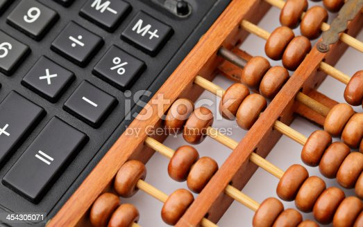 istock Calculator and abacus 454305071