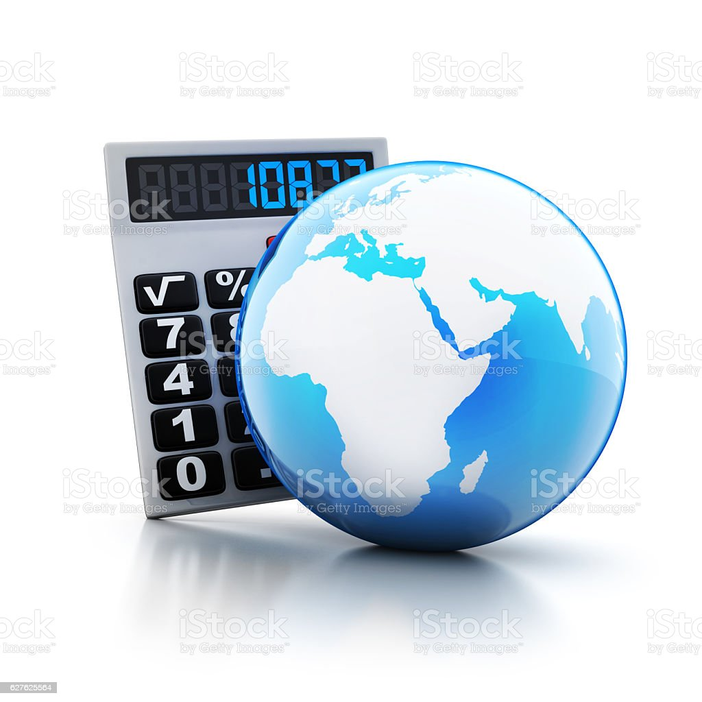 calculator and abstract blue earth stock photo