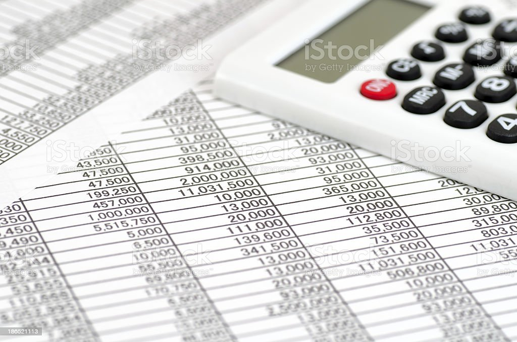 Calculator and Accounting documents royalty-free stock photo
