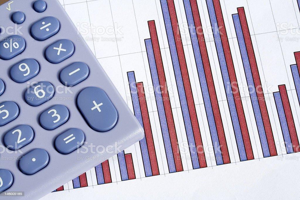 Calculator and bar chart royalty-free stock photo