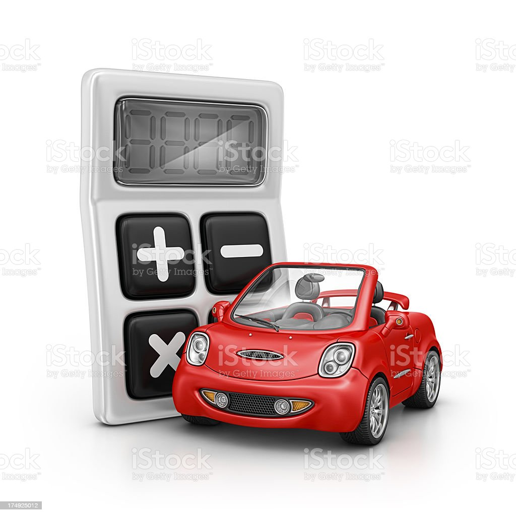 calculator and car  Analyzing Stock Photo
