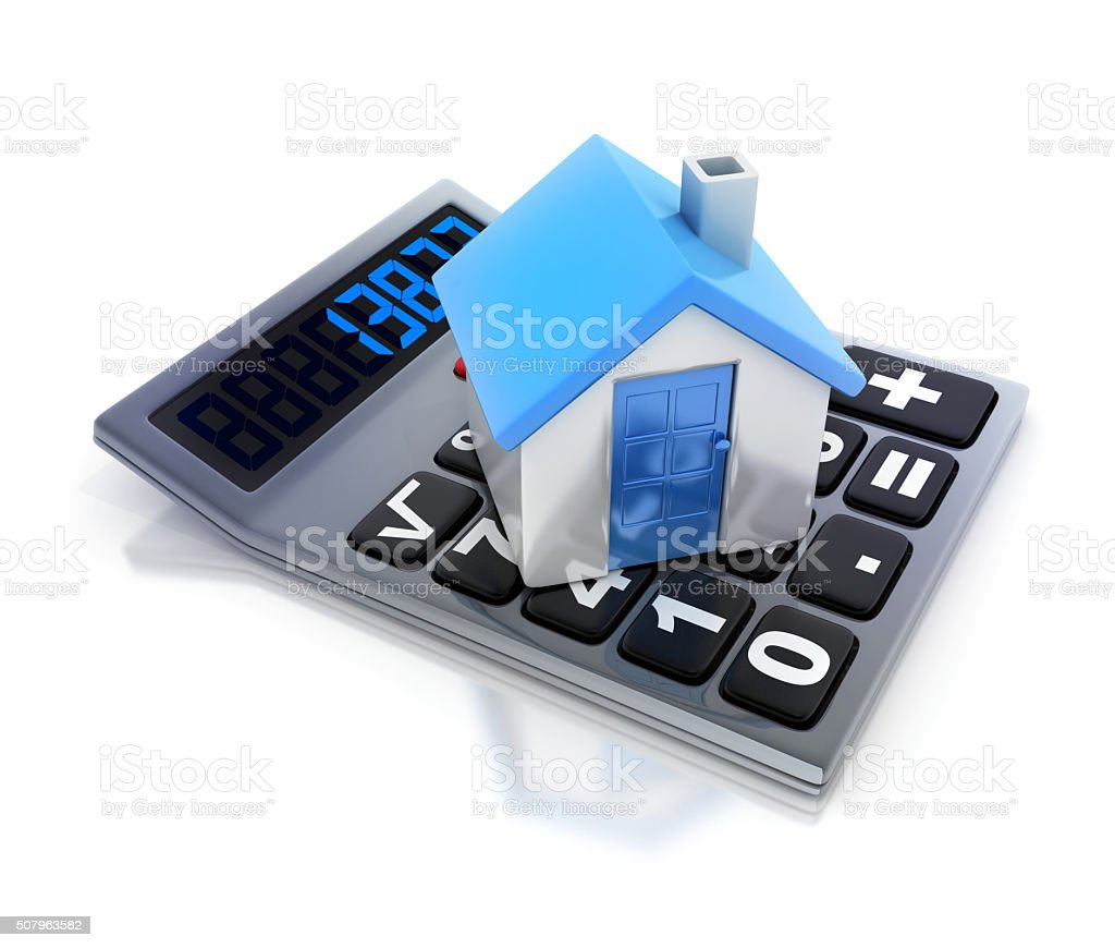 Calculator and car stock photo
