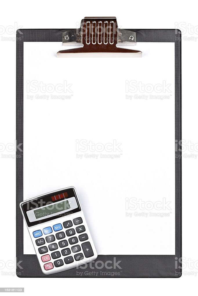 Calculator and clipboard stock photo
