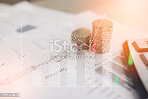 istock Calculator and coin,money with business graphs and charts report on tabble, calculator on desk of financial planing. Financial concepts. 822172810