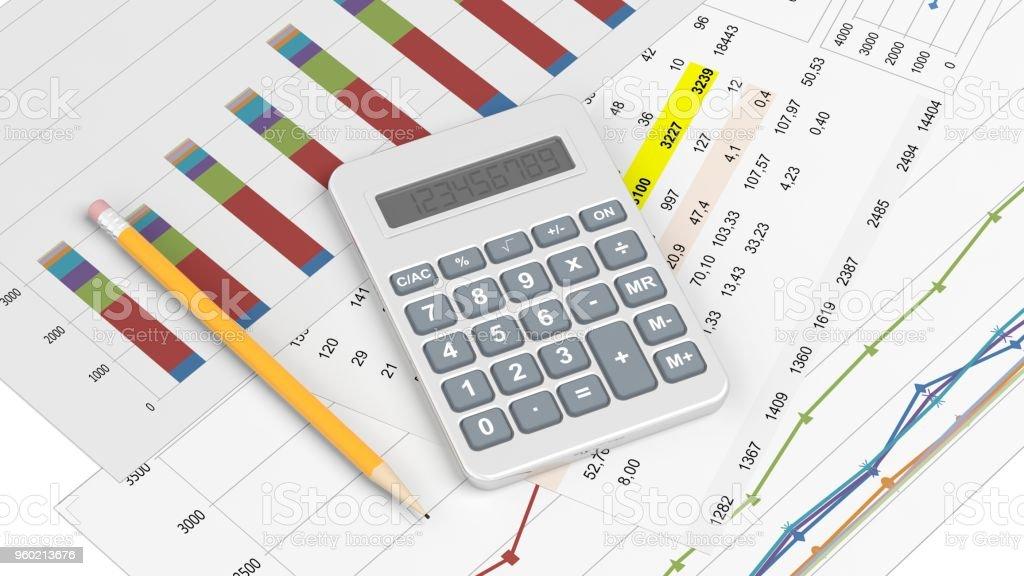 Calculator and documents stock photo