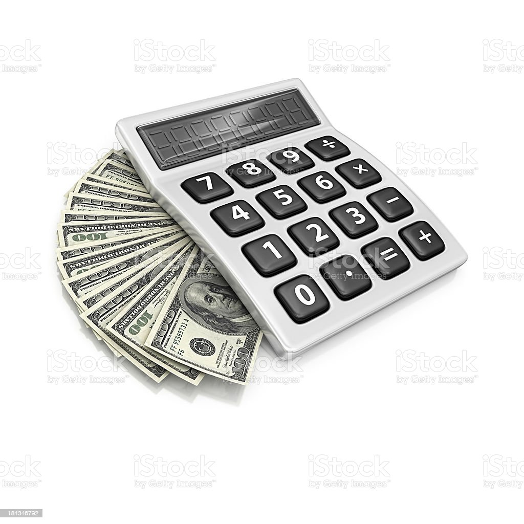 calculator and dollars royalty-free stock photo