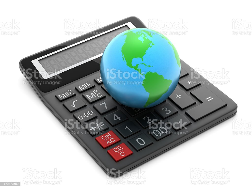 Calculator and earth royalty-free stock photo