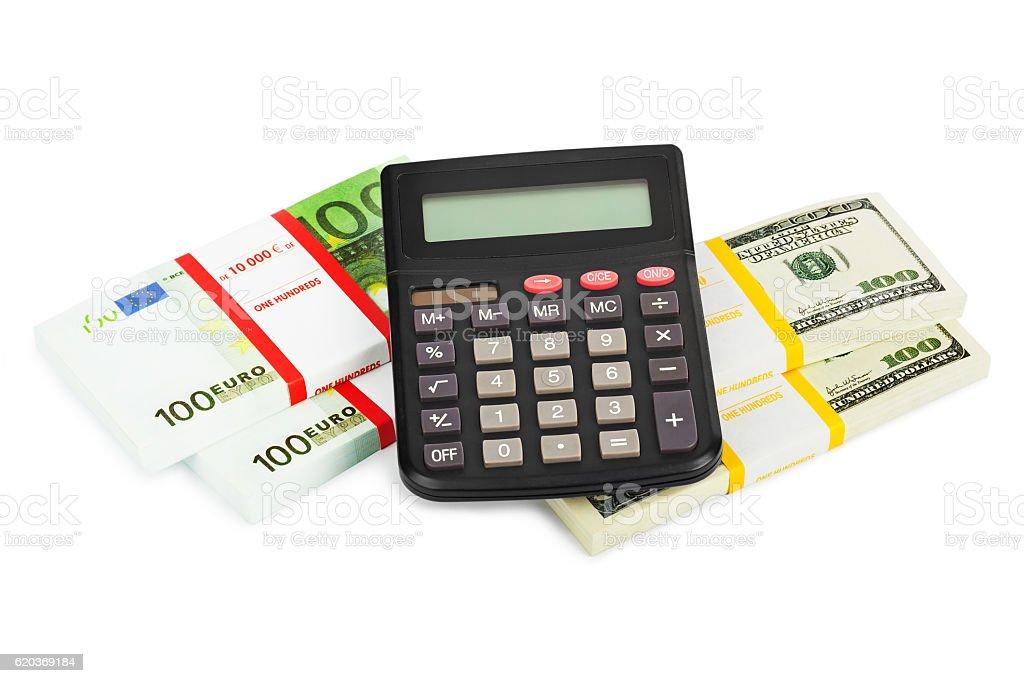 Calculadora e dinheiro foto de stock royalty-free