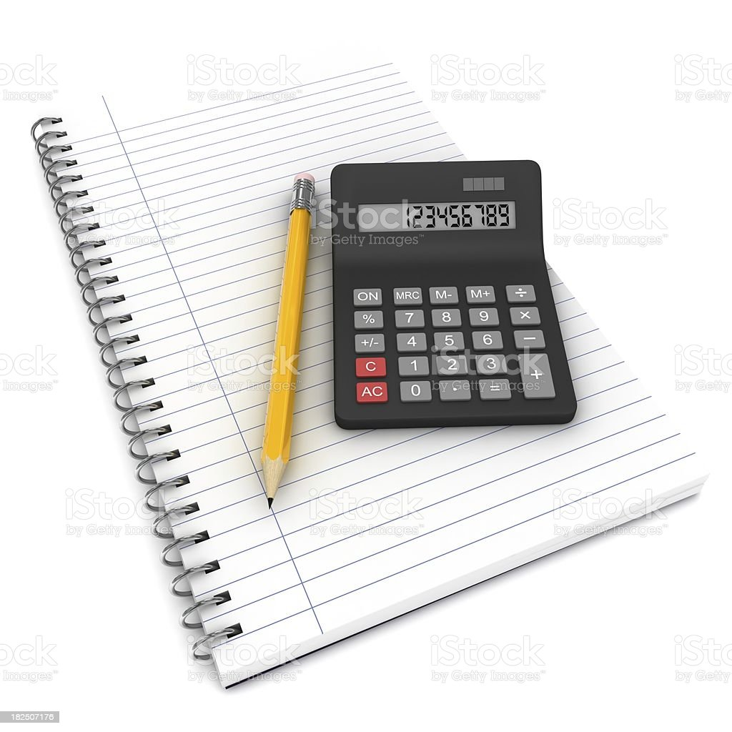 Calculator and Notepad royalty-free stock photo