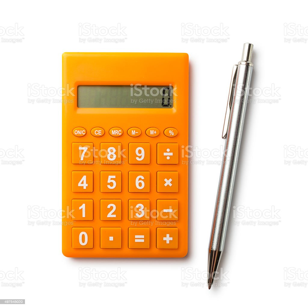 Calculator and pen with path stock photo