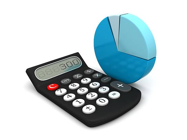 calculator and pie chart stock photo