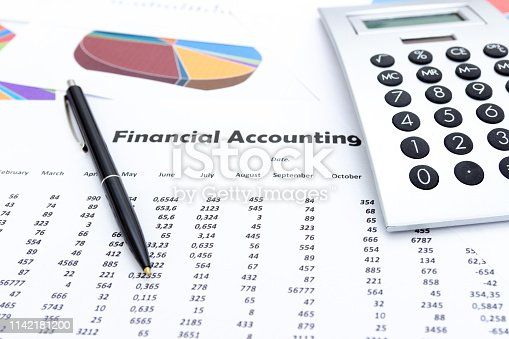 istock calculator and stationery items on the table, Financial accounting. 1142181200