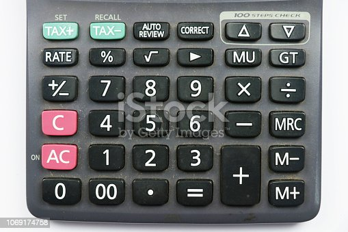 istock calculator buttons with white background 1069174758
