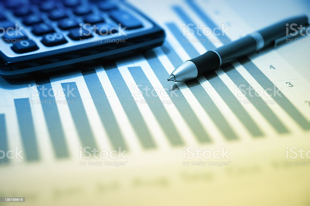 calculator, chart and pen royalty-free stock photo