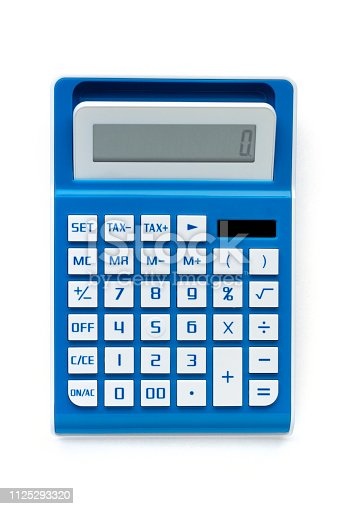 Calculator from above against white background close up