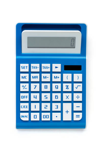 Calculator from above against white background close up stock photo