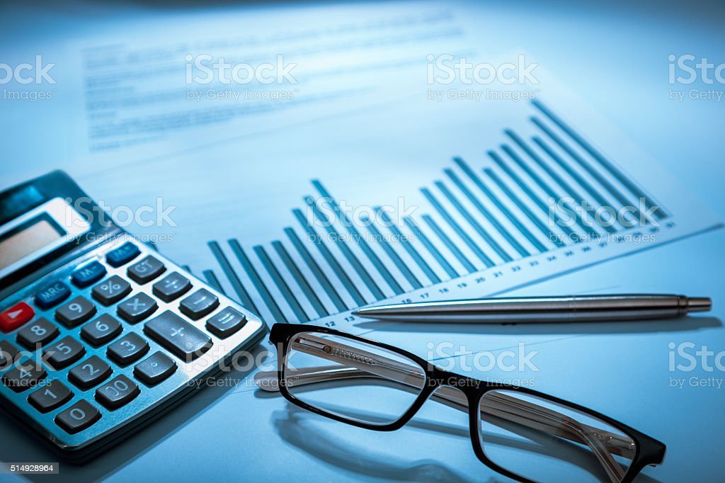 calculator, glasses, graph (data analysis) stock photo