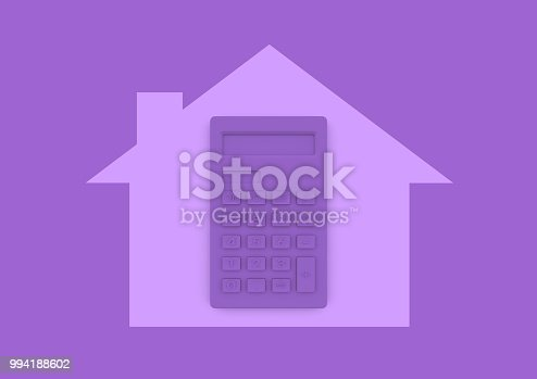istock Calculator inside house home buying and mortgage minimalist concept 994188602