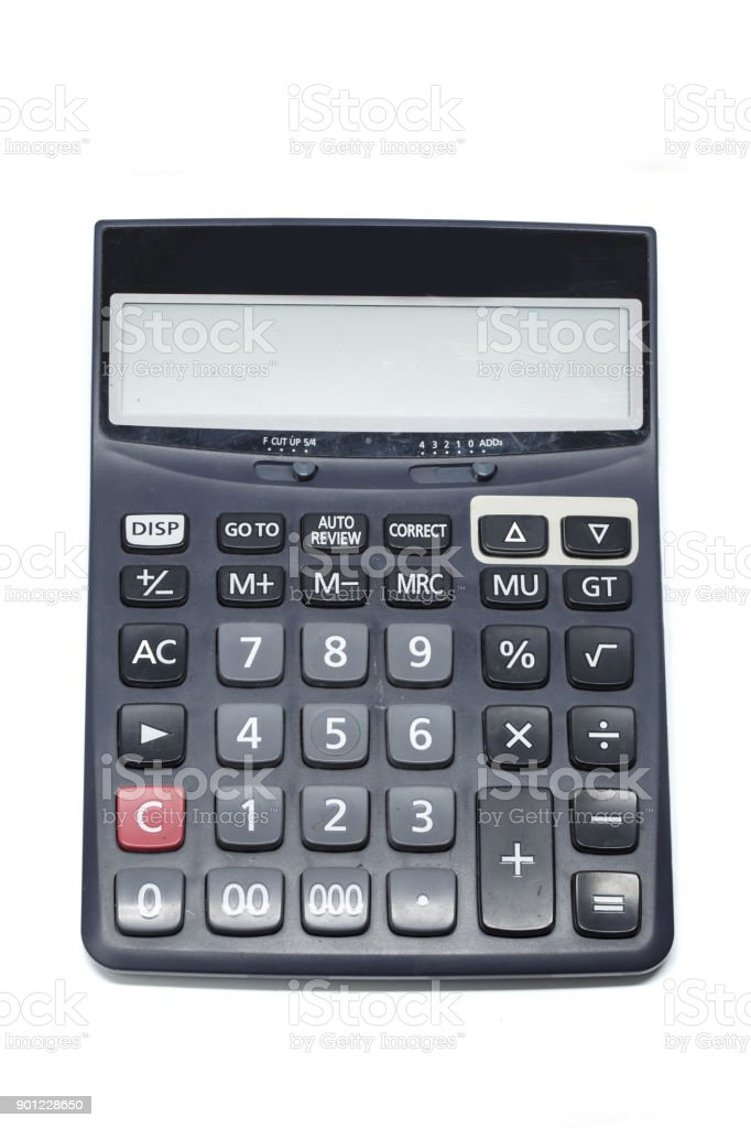 calculator isolated on white background object stock photo