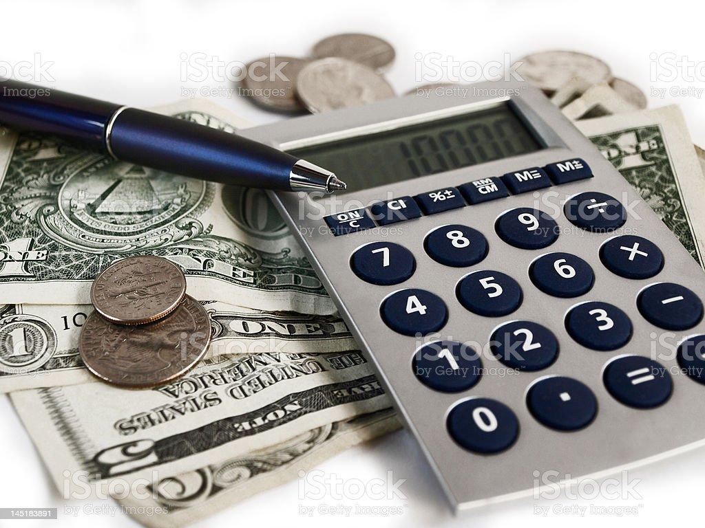 Calculator, Money, Pen on White royalty-free stock photo
