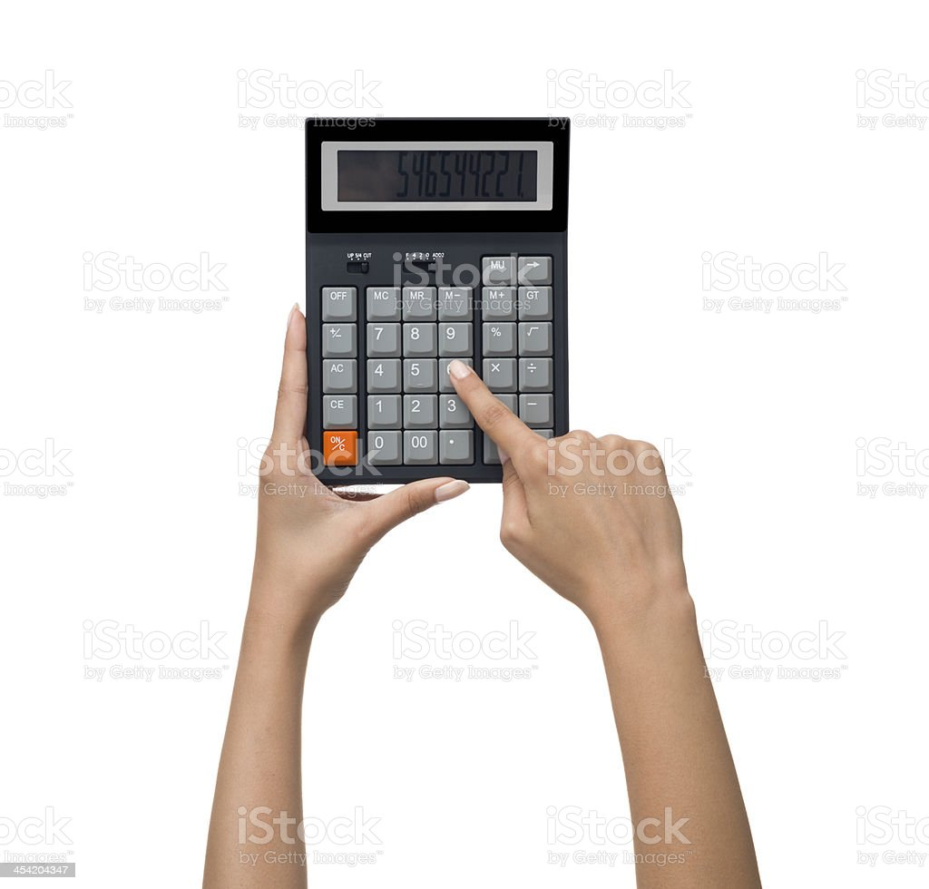 Calculator n human hand on white background royalty-free stock photo