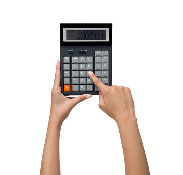 Calculator n human hand on white background Calculator n human hand on white background minus sign stock pictures, royalty-free photos & images
