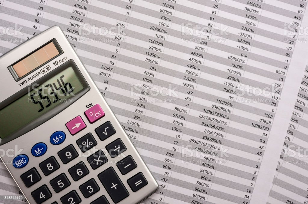 Calculator on balance sheet stock photo