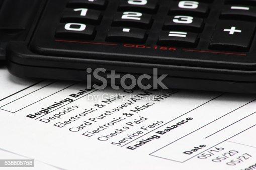istock Calculator on Bank Statement 538805758